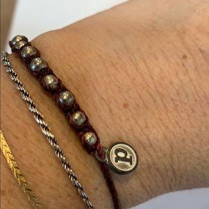 Pura Vida braided maroon cord silver bead